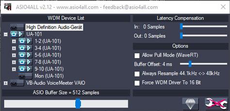 ASIO4ALL-Fenster in Windows