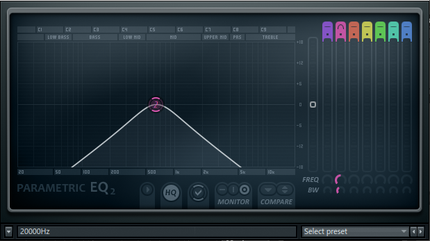Bandpassfilter im Parametric EQ von Image-Line