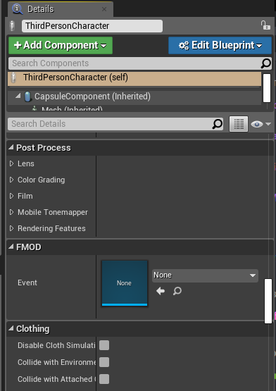 FMOD Event im Details Tab der Unreal Engine