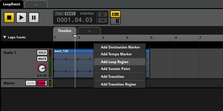 FMOD Studio Add Loop Region