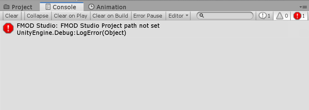 Unity Console - Errore FMOD: Path del progetto non trovata