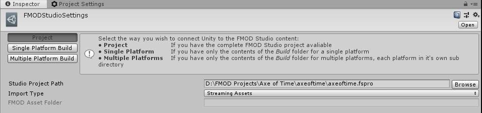 Impostazioni FMOD in Unity