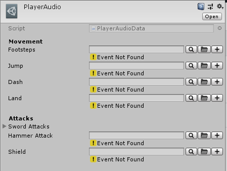PlayerAudio ScriptableObject file .asset