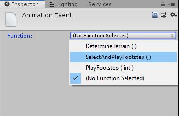 Selezioni dei metodi di un Animation Event in Unity