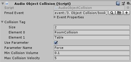 AudioObjectCollision script in Unity's Inspector