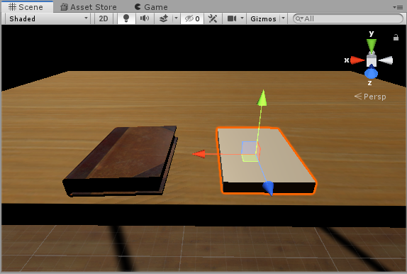 Book GameObject in Unity's Scene View