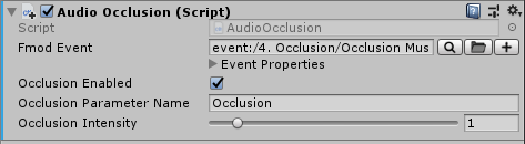 AudioOcclusion script in Unity's inspector