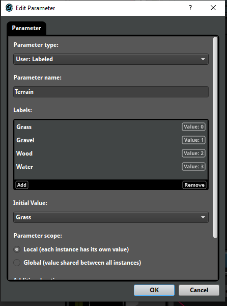 FMOD Studio Labeled Parameter values
