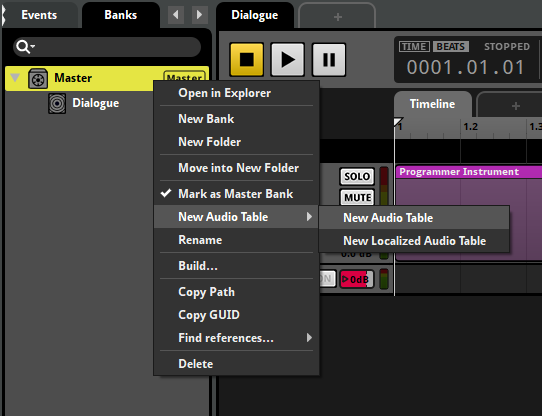 "FMOD Studio ""New Audio Table"" option"