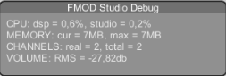 FMOD Debug window inside Unity