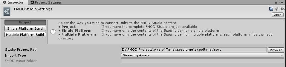 Unity's FMOD settings