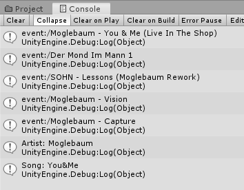 Shuffled songs displayed in Unity's Console