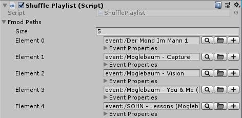 ShufflePlaylist script in Unity's inspector