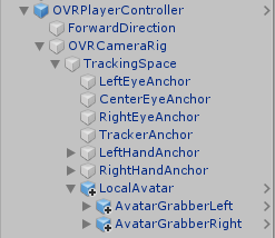Oculus PlayerController GameObjects in Unity's Hierarchy