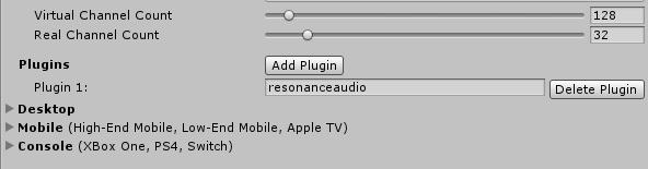 Resonance Audio plugin in Unity's FMOD settings