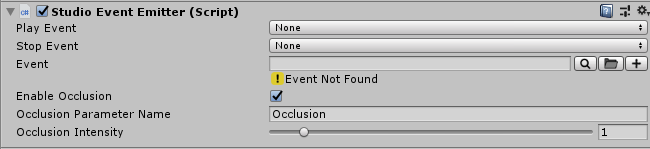 Studio Event Emitter component with Occlusion settings