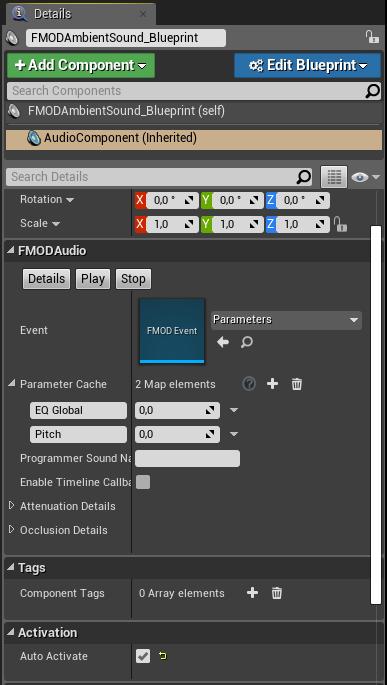 FMOD Ambient Sound details