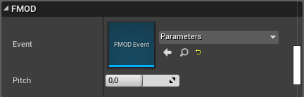 FMOD Event Parameter in the Details tab