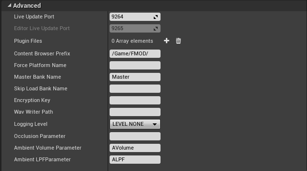 FMOD Studio Plugin settings in Unreal Engine 4