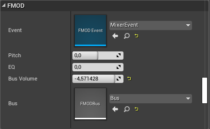 FMOD Bus in the Details tab in Unreal Engine 4