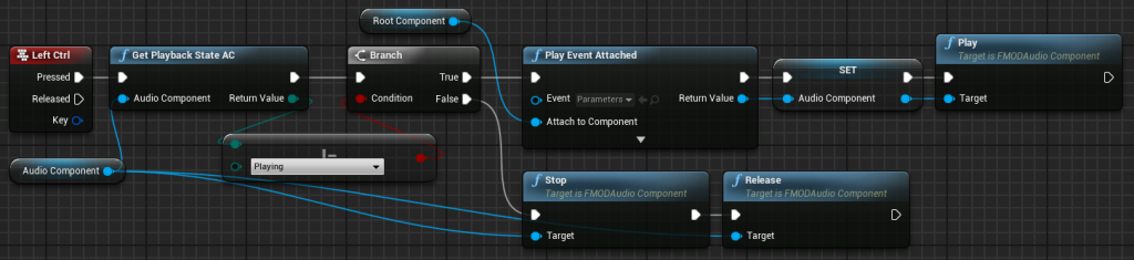 FMOD Playback State Audio Component Blueprint node