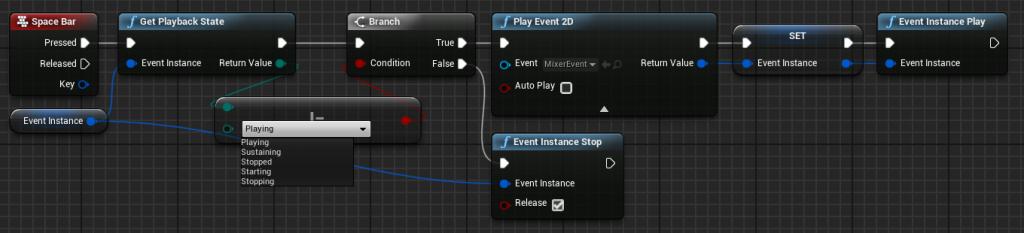 FMOD Playback State Event Instance Blueprint node
