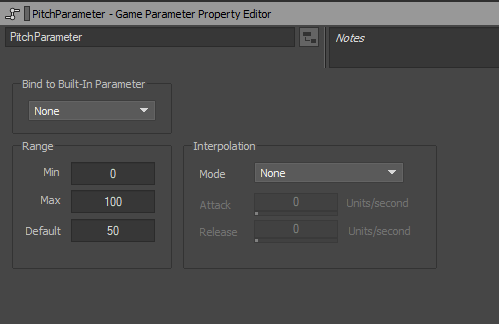 Game Parameter Property Editor in Wwise