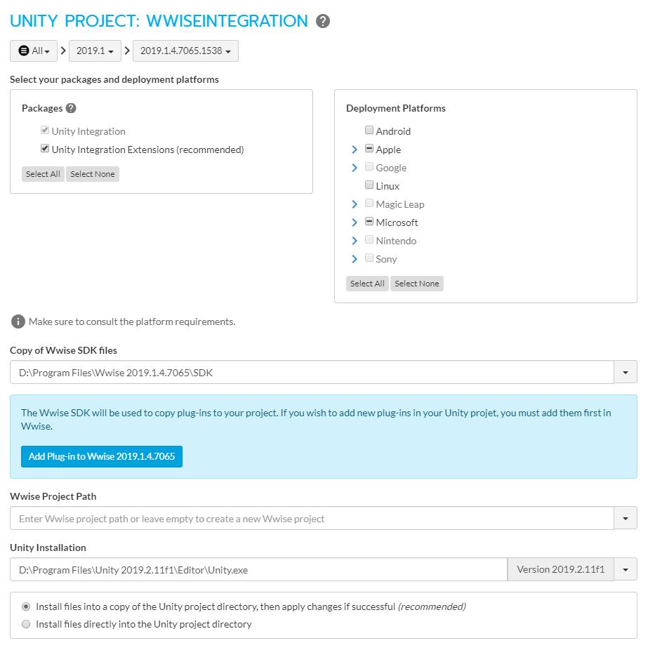 Wwise+Unity Integration setup settings
