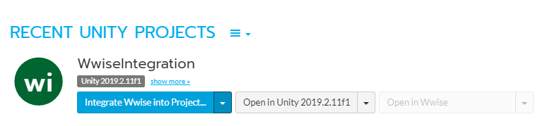 Wwise Launcher showing Unity projects