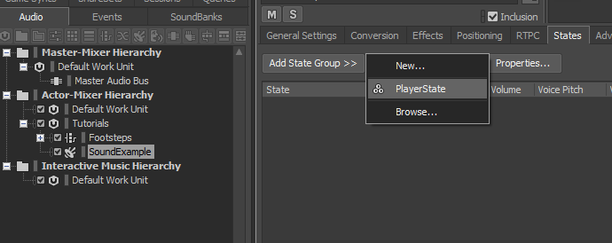 Adding a State Group to a Sound