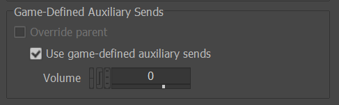 Use game defined auxiliary send option in the sound property tab in Wwise