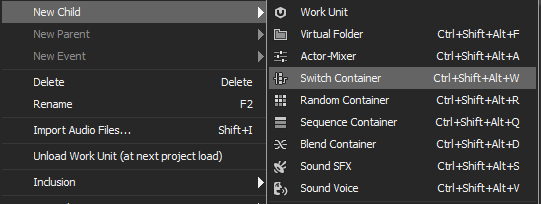 Switch Container creation in Wwise
