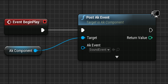 Post Ak Event node in Unreal Engine 4 (Ak Component target)