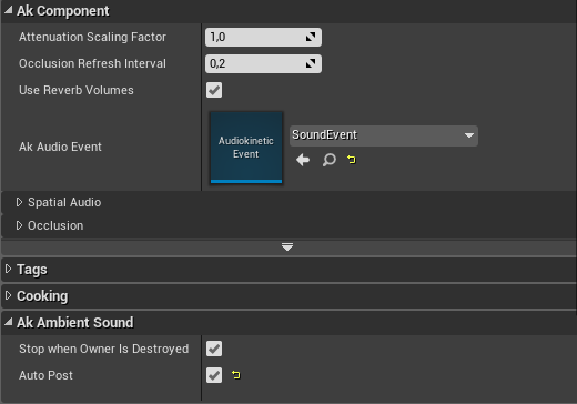 AkAmbientSound settings in Unreal Engine 4