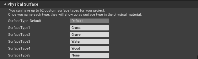Physical Surfaces setup in Unreal Engine 4