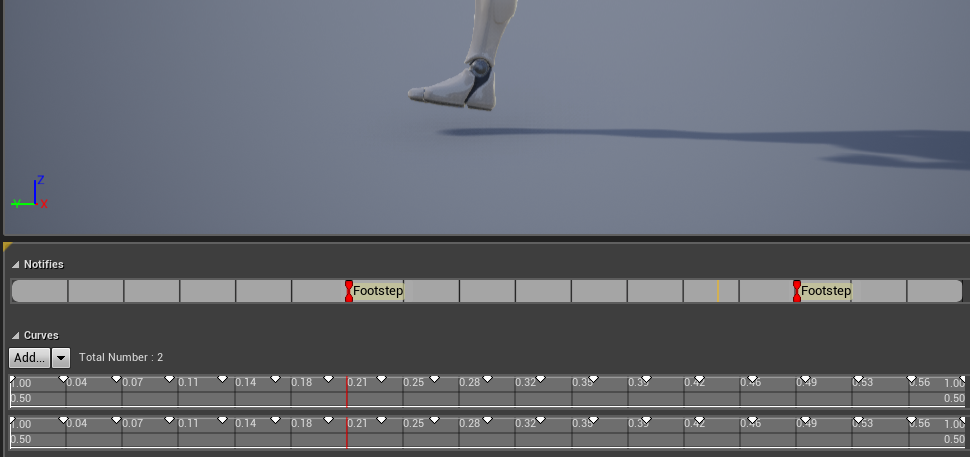 Footsteps Animation Notifier in Character's Run Animation