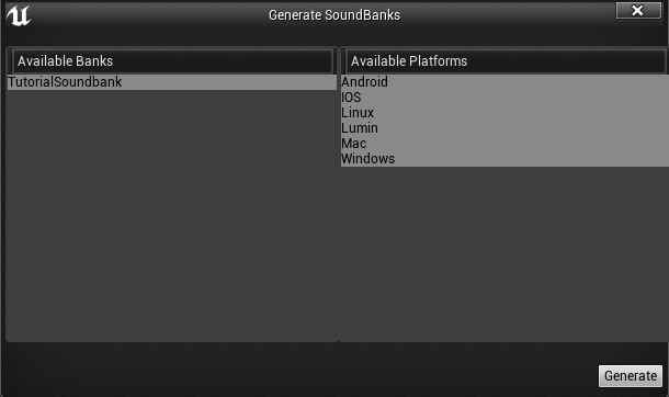 Generate Soundbanks popup in Unreal Engine 4