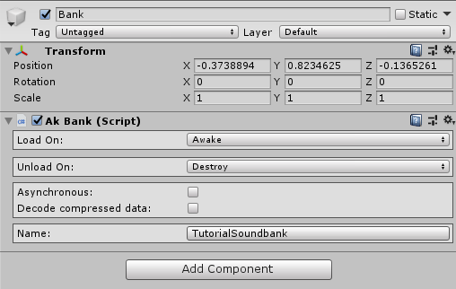 Ak Bank component in Unity