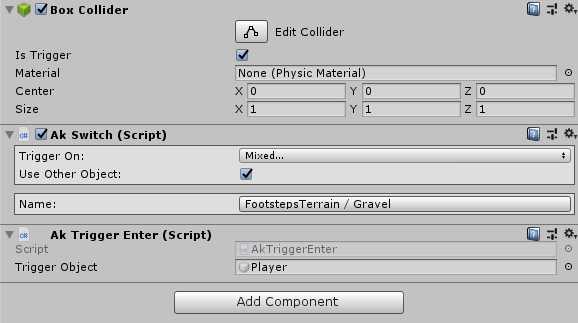 Ak Switch & Ak Trigger Enter components in Unity