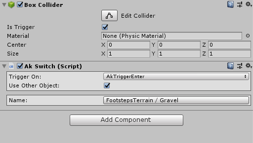 AKSwitch component in Unity's inspector