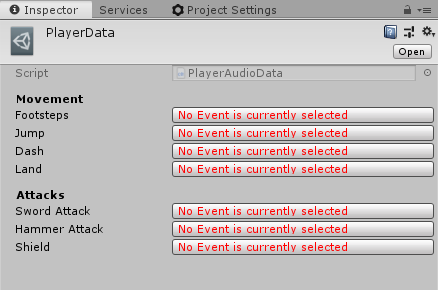 Scriptable Object asset with empty Events in Unity