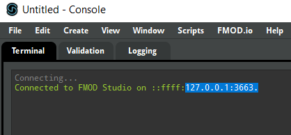 FMOD Studio Scripting API IP displayed in the console